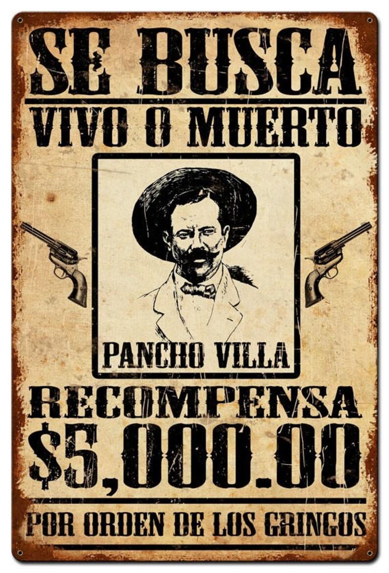 Metal Sign Wanted Se Busca Pancho Villa Mexico Etsy
