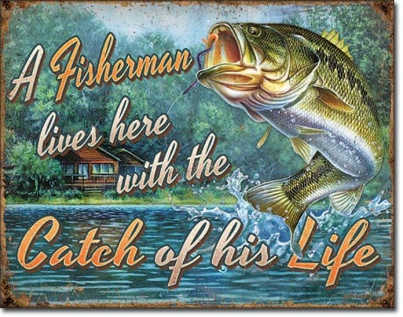 "Heddon Tackle Fishing Tin Sign Retro Ad Old Style Decor Fisherman Gift  USA 16/"""