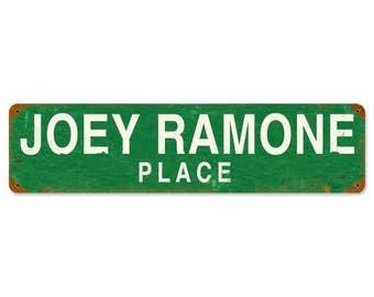 "Metal Sign "" The Ramones Joey Ramone Place Punk Rock "" 20""x5"" Man Cave"