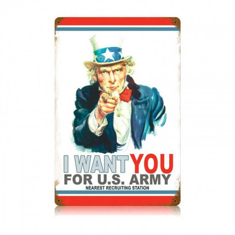 Uncle Sam I Want You Metal Tin Sign Army Military Ad Garage Cave Home Decor Gift