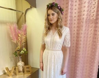 Boho wedding dress | White lace bohemian gown | Lightweight | Floaty | Informal | Micro wedding | Beach | UK 8/10 10/12 12/14 14/16 16/18