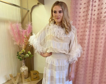 Feather Dress, Gatsby Dress, 1920s, Vintage White Ivory Dress, Flapper Wedding Dress 8/10
