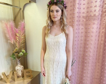 Simple lace vintage wedding dress | Sequin detail  | Strappy | Ankle length | Informal wedding gown | Midi | Hen | UK size 10/12 US size 6/8