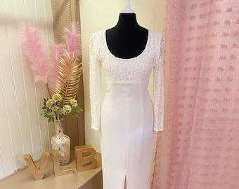 City Wedding Dress | Fitted | Petite Wedding Dress | City Hall | Informal | split | UK Size 6 | Classic | Glamorous| Ivory