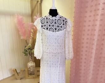 Boho lace wedding dress | Crochet lace wedding dress | Guipure | Bohemian | white | high neck | Edwardian | Festival | Micro | UK 12 | US 8
