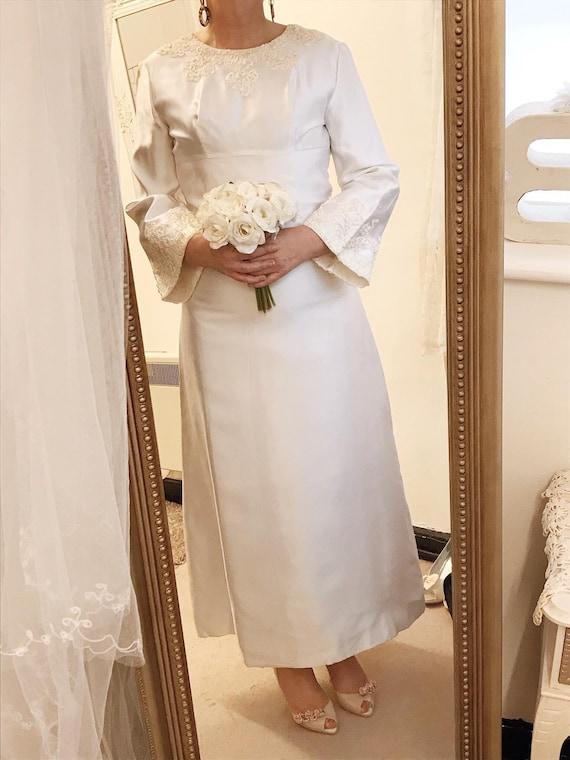 1960s satin wedding dress, sixties wedding dress,