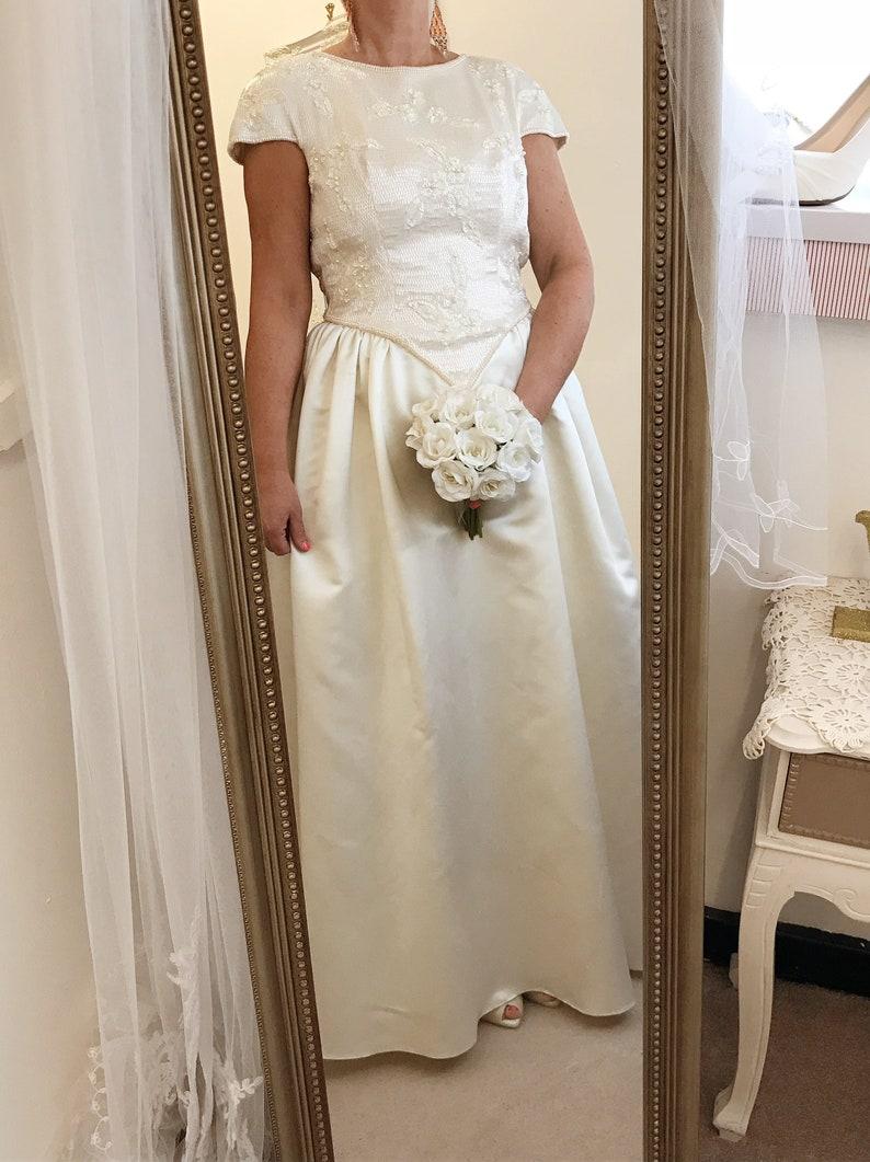 Satin Cream Beaded Vintage Wedding Dress Princess Embellished Wedding Dress Vintage Champagne UK size 1214 US size 810