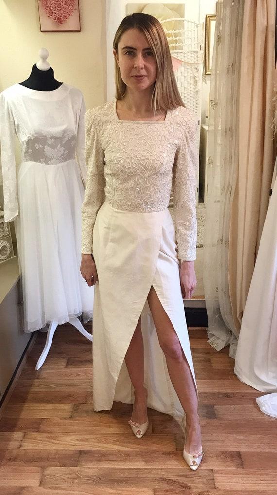 Art Deco Wedding Dress 1920s Flapper Dress Champagne Art Etsy
