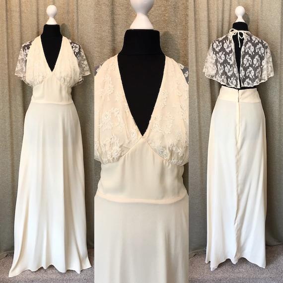 Cream 12 6 Halterneck with Lace Vintage US size Wedding Dress Boho Cape 8 10 UK gTvxvd4q