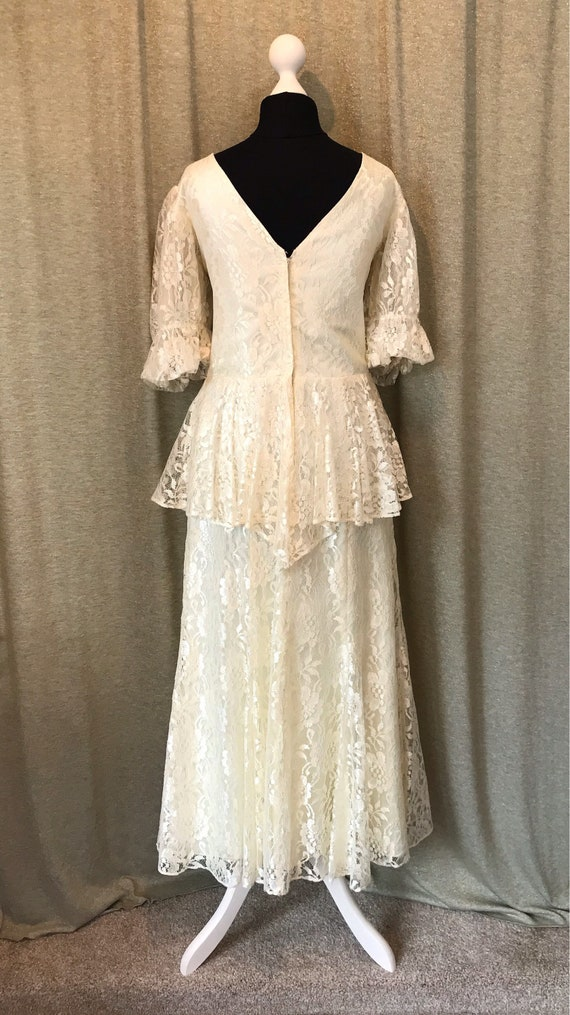 10 peplum 8 Style Dress Wedding 6 12 1920s wedding UK Vintage Flapper Ivory Lace Short 10 US Cream informal UK Gatsby 12 xqFO0T