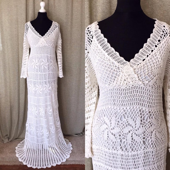Crochet Wedding Dress, 70s wedding dress, Boho Wed