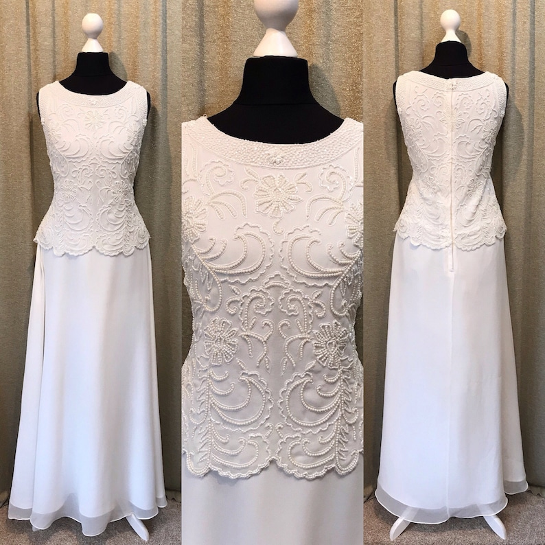 Beaded wedding dress, Plus size, Gatsby 1920s Style, Floaty Chiffon,  Beading, Vintage, Soft White, Informal, UK 14 US 10/12