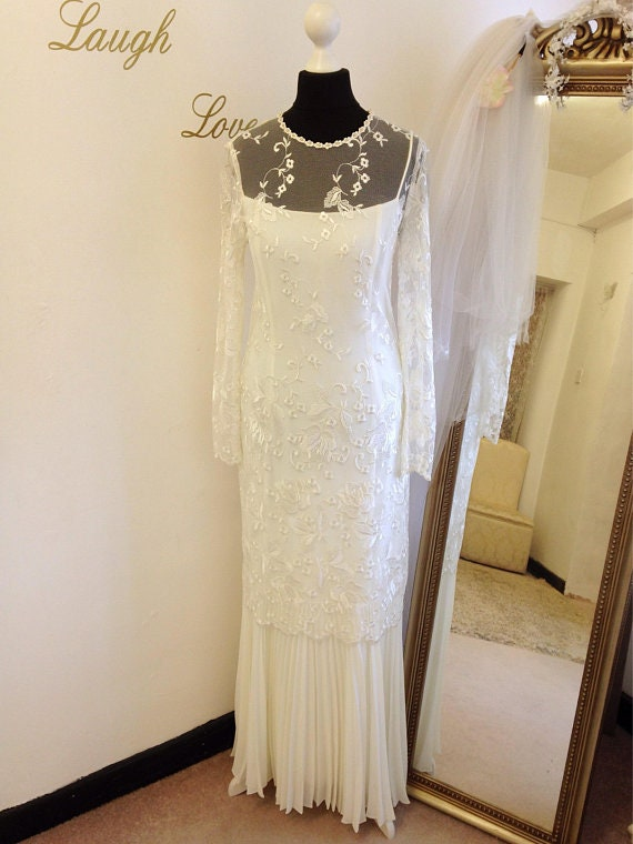 UK piece Us 8 Wedding 6 size with Dress 10 train sleeves Lace 4 two and small Beautiful Long Vintage size va76qn