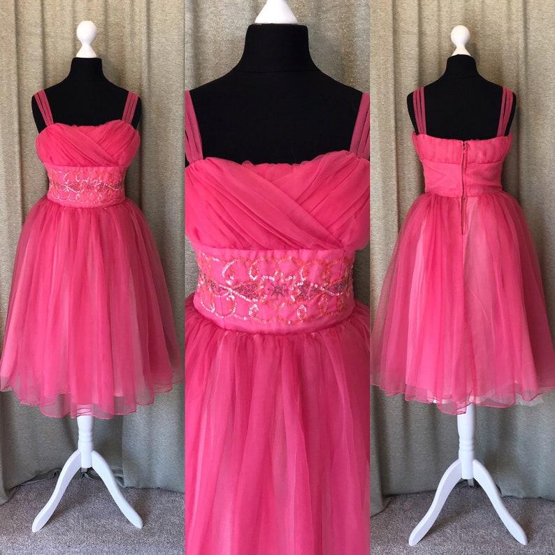 5480163aecf7 Vintage 1950s Pink Prom Dress size UK 8 / Tulle / Hot Pink / | Etsy