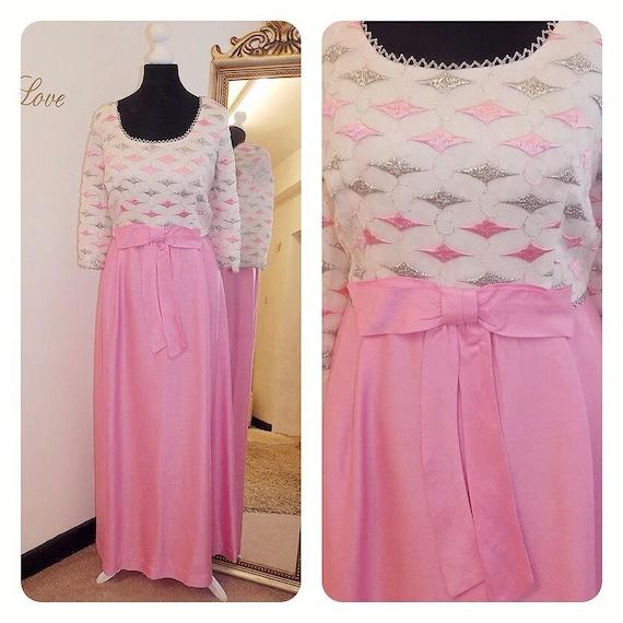 1960s vintage Pink Bridesmaid Dress / Maxi Dress/