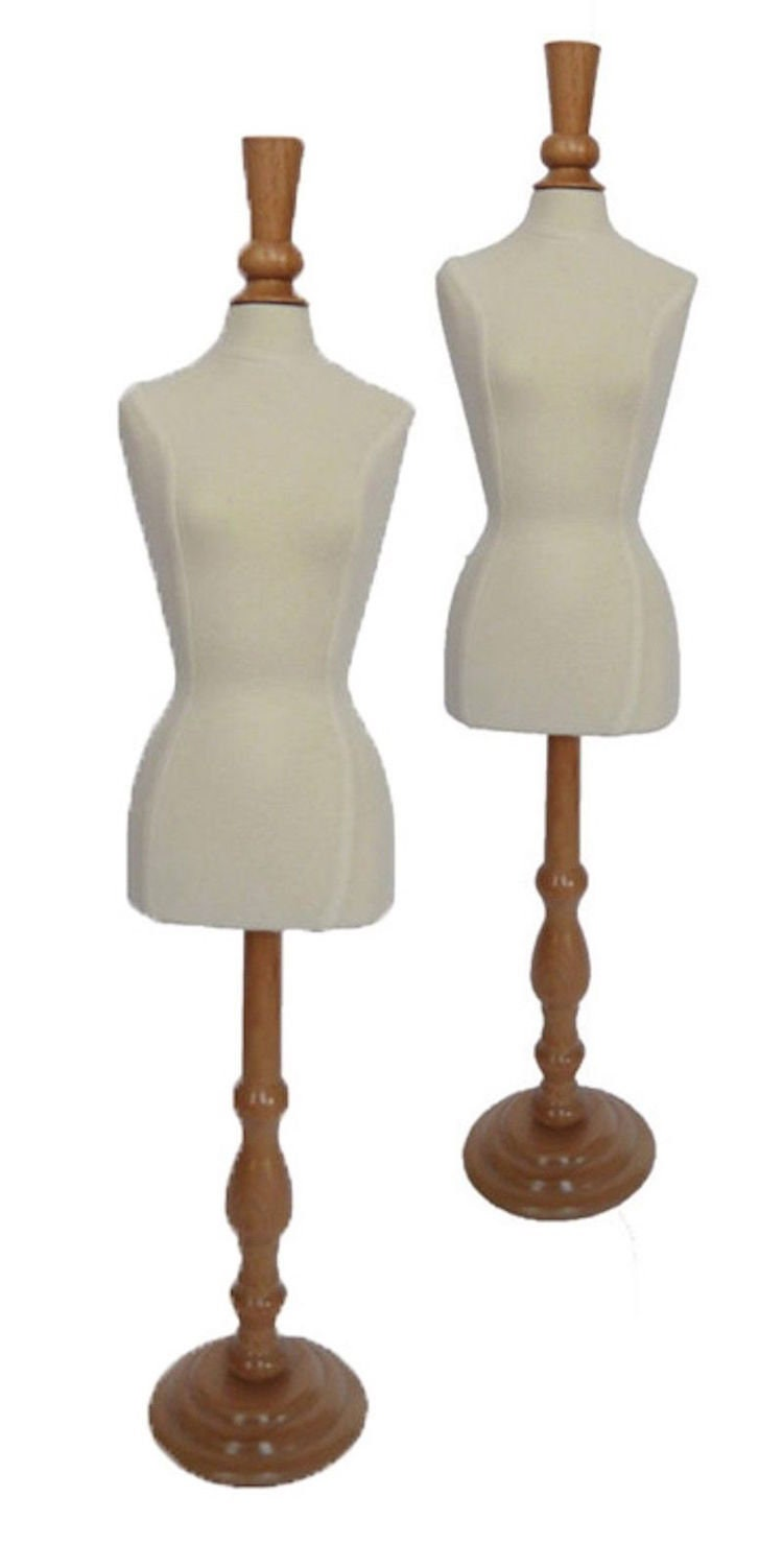 Two Mini Jersey Fabric Covered Pinnable Dress Forms for for for Jewelry or Doll Display 3c9b15