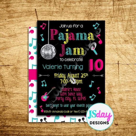Pajama Party Sleepover Slumber Party Printable Invitation or Printed with FREE SHIPPING Pajama Jam Collection