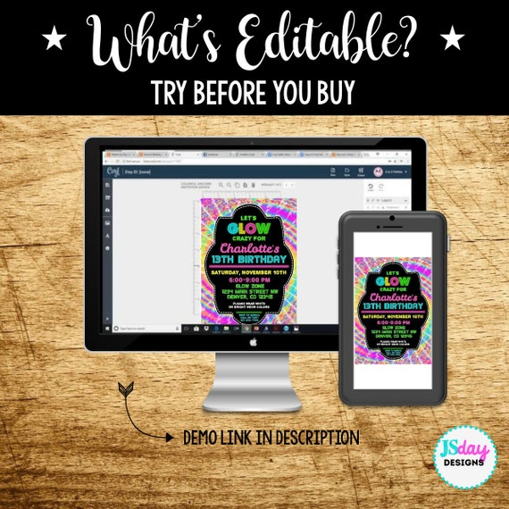 edit yourself glow crazy birthday invite glow in the dark etsy