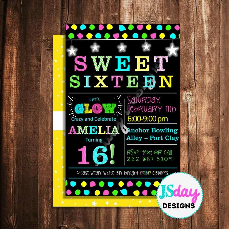 16th Birthday Sweet 16 Sixteen Dance Invitation Girl Teen Birthday Black Light Neon Glow In The Dark