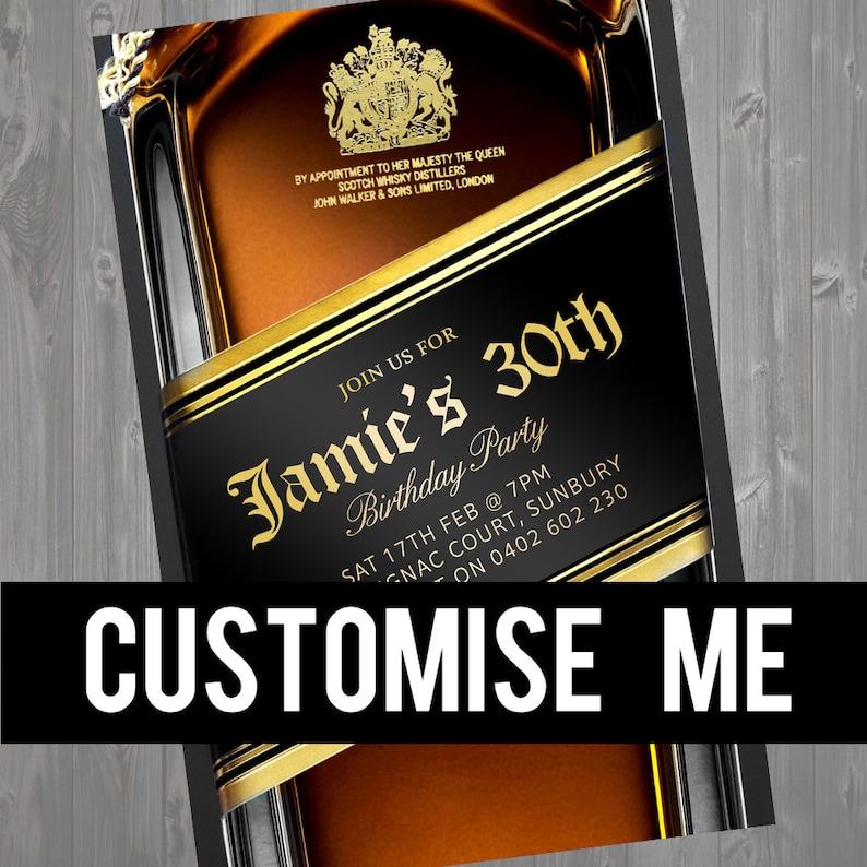 d2f7f9f88d015e Scotch Whisky Black Label Top Shelf Mens Birthday Invitation