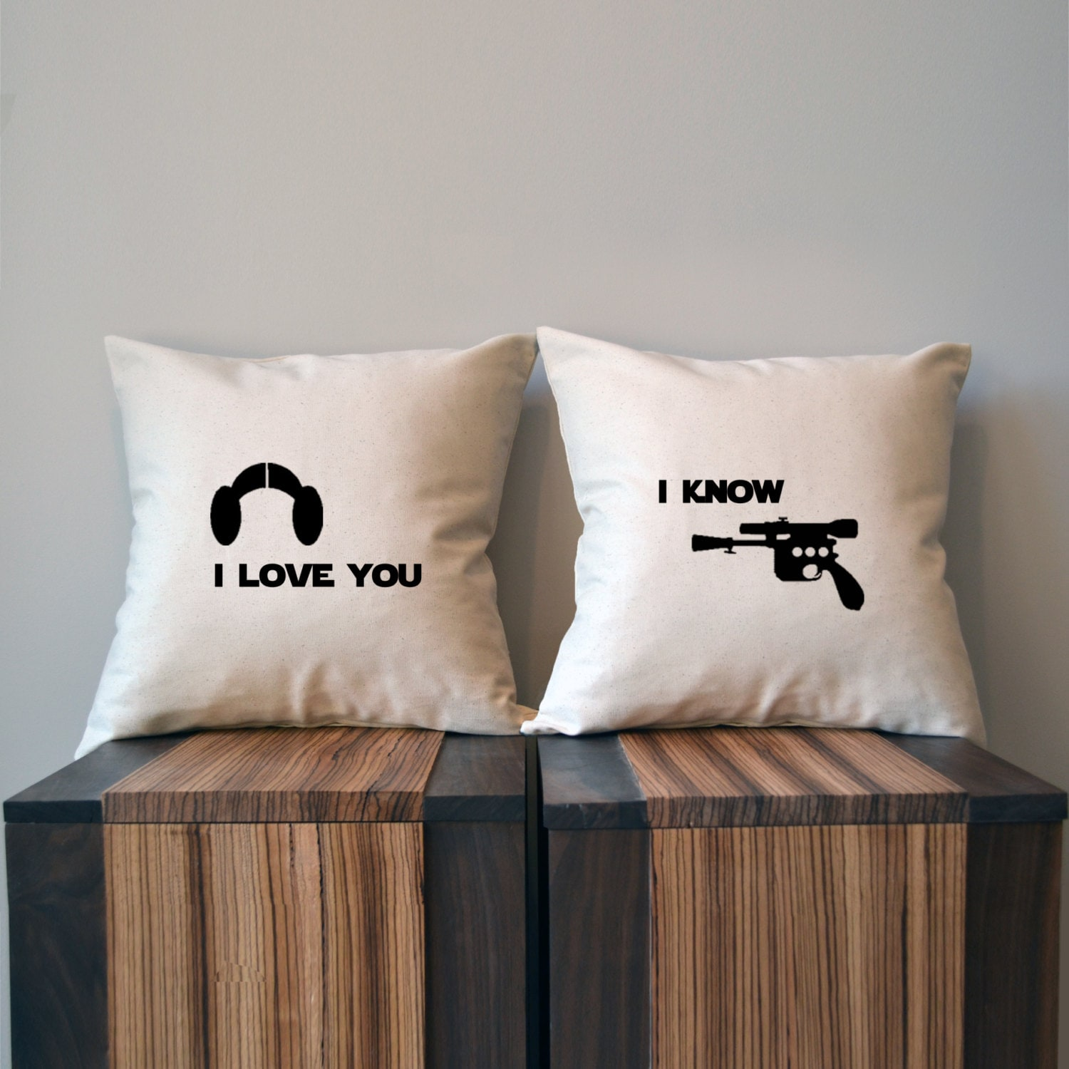 I Love You I Know Star Wars Pillow Cover Set Leia Han Solo Etsy