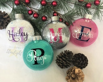 Name with Initial Ornament - Name and Initial - Glitter Ornament - Custom Ornament - Personalized Ornament - Plastic Ornament