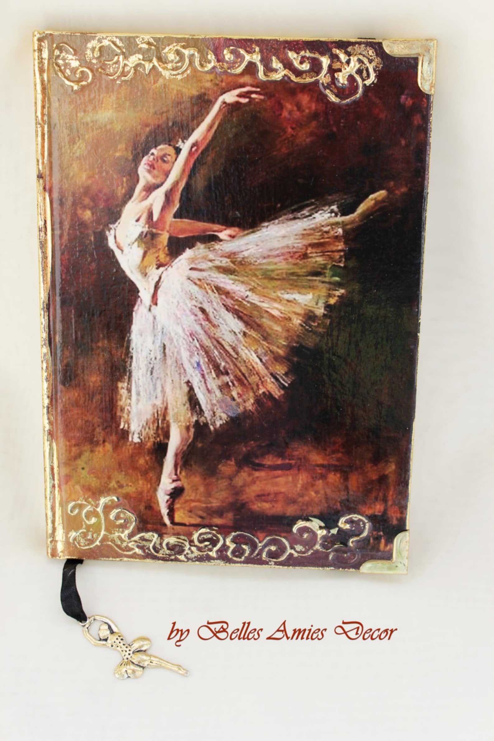 ballet art journal, ballet gifts, ballerina notebook, personal diary, a5 notebook, gift for girl, leather cover notebook, birthd