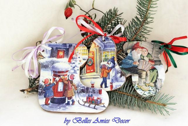christmas decorations set wooden christmas ornaments xmas etsy