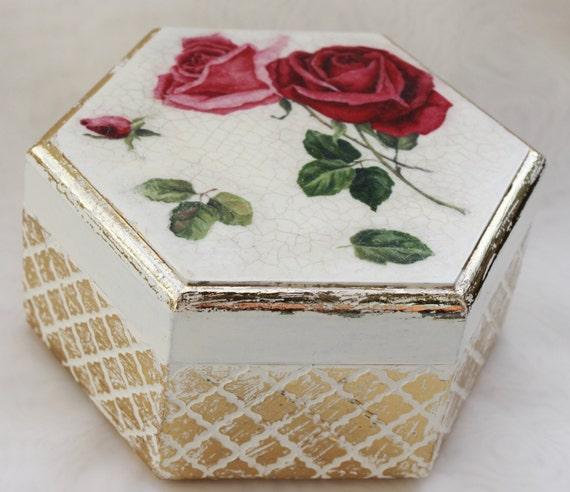 Elegant jewelry box roses shabby chic treasury box