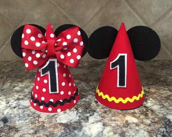 Mickey Mouse Birthday Hat And Minnie First Twins 1st Outfit Party