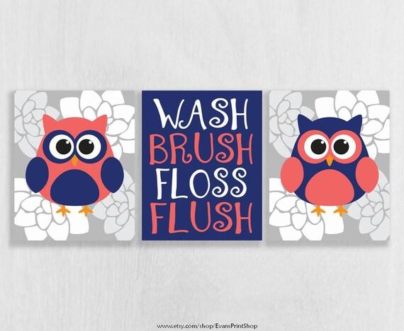 Canvas Owl Bathroom Decor Set Of 3 Owl Wall Art Coral And Navy Bathroom Decor Bathroom Rules Bathroom Art Girl