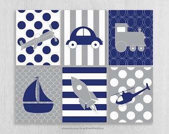 Navy and Gray Nursery Art Prints Set of 6, Plane, Train, Car, Helicopter, Rocket - Transportation Nursery - Transportation Decor - On the Go