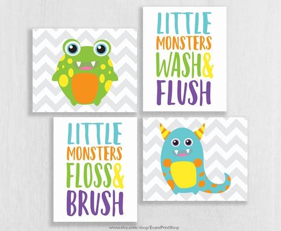 Canvas Monster Bathroom Decor Little, Monster Bathroom Set