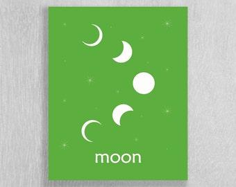 Modern Nursery Art Print, Space Nursery Print, Moon - Art for Kids and Nursery - Outer Space Decor - Space Wall Art