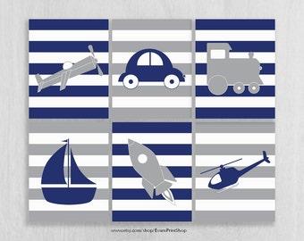 Navy and Gray Nursery Art Prints Set of 6, Plane, Train, Car, Heli - Transportation Nursery - Transportation Wall Art - Transportation Decor