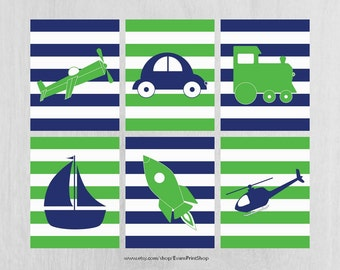 Navy and Lime Green Nursery Art Prints Set of 6, Plane, Train, Car, Heli - Transportation Nursery - Transportation Decor - Kids Wall Art