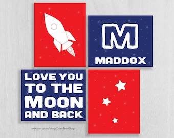 Personalized Space Nursery Art Print Set - Rocket, Love You to the Moon, Name & Initial, Stars - Space Wall Art - Space Nursery Decor