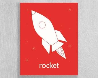 Childrens Art Print, Rocket, Space Nursery - Modern Art for Kids Room or Nursery - Space Wall Art - Astronaut Art - Space Decor