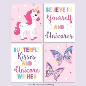Rainbow Unicorns Canvas Art CANVAS Unicorn Wall Decor Set of 3 Unicorn Wall Art Butterfly Wall Art Butterfly Kisses Unicorn Wishes