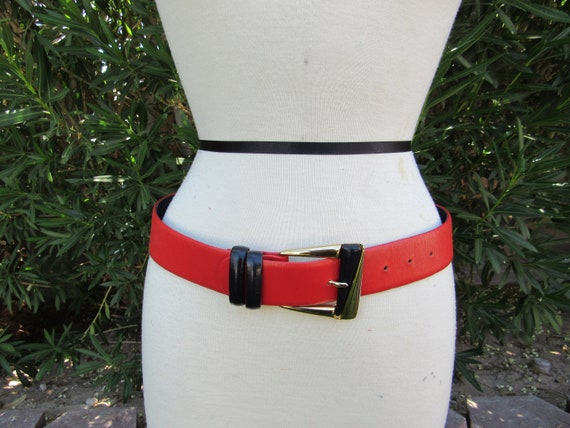 1980s Red and Black Mondi Leather Belt