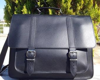 Men Briefcase, Messenger Bag, Full Grain Leather, 17 inch Laptop Bag, Handbag, Shoulder Bag, Mens Briefcase, Handmade in Greece.