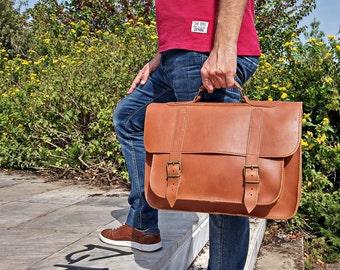 Full Grain Leather Messenger Bag - 15 inch Laptop Bag - Professional Briefcase Handmade in Greece.
