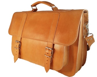 Full Grain Leather Messenger Bag - Professional Leather Briefcase, 17 inch Laptop Bag. 4 COLORS AVAILABLE!