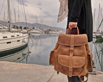 Waxed Leather Backpack - Knapsack from Full Grain Leather, Handmade in Greece. LARGE size.