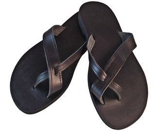 Black Leather Slides - Toe Ring Sandals - Flat Leather Sandals. Greek Sandals - Handmade in Greece
