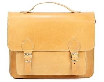 10 inch Women Messenger Bag Tablet Briefcase, Small size Leather Shoulder Bag, Handmade of FULL GRAIN LEATHER.