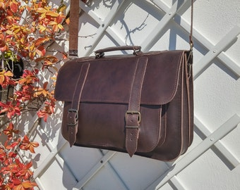 15 inch Laptop Bag, Leather Messenger Bag, Leather Briefcase from Full Grain Leather, Handmade in Greece, 4 Colors Available.