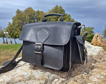 DSLR Camera Bag, Full Grain Leather Camera Case. 100% Full Grain Leather Bag, Handmade in Greece.