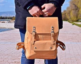 Full Grain Leather Backpack in Natural Color, Laptop Backpack for Men or Women Rucksack Handmade of Calf Leather Gift for Him / Her.