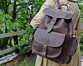 af9c56fe9ba1 Large Leather Backpack for Women and Men - Full Grain Leather.